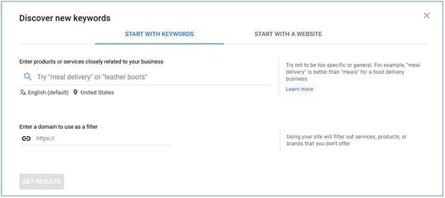 start keywords